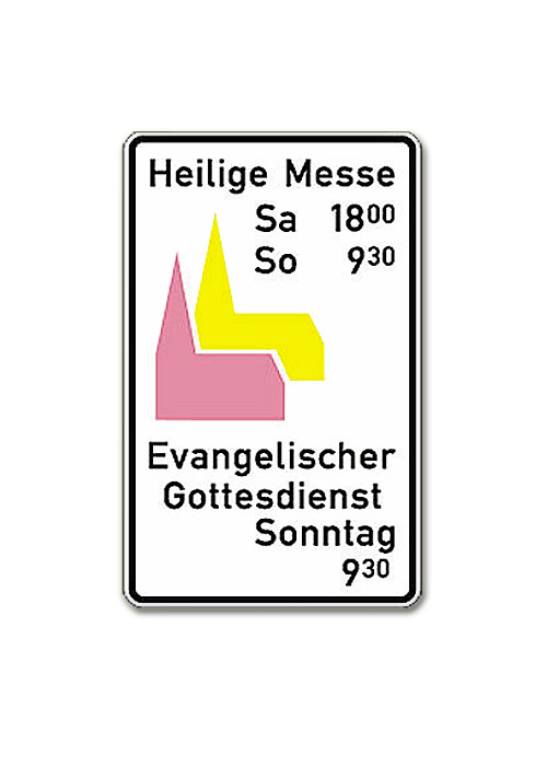 Kombi-Schild für beide Konfessionen