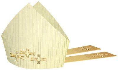 Mitra mit goldgestickten Kreuzen