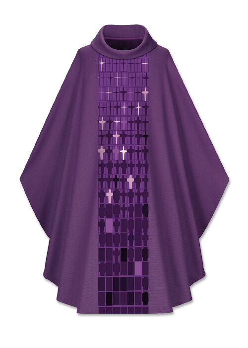 Violette Kasel mit modernem Kreuzstab