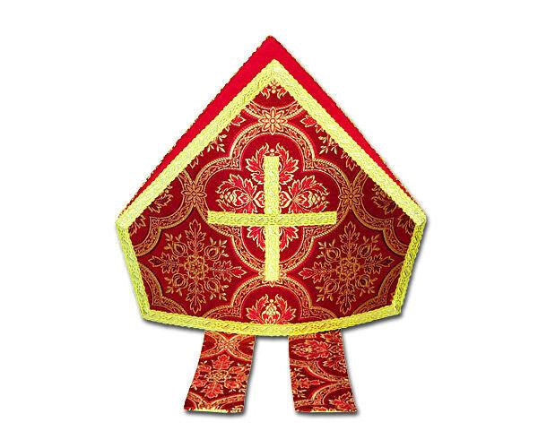 Nikolaus-Mitra aus Brokat mit Vierpassmuster