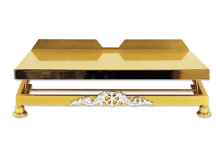 Messbuchpult mit verstellbarer Neigung und versilbertem Emblem