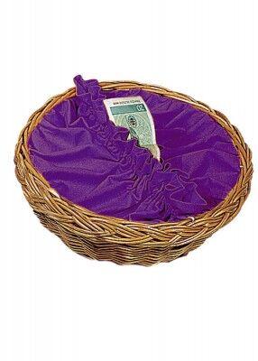 Kollektenkorb mit violetter Stoffbespannung