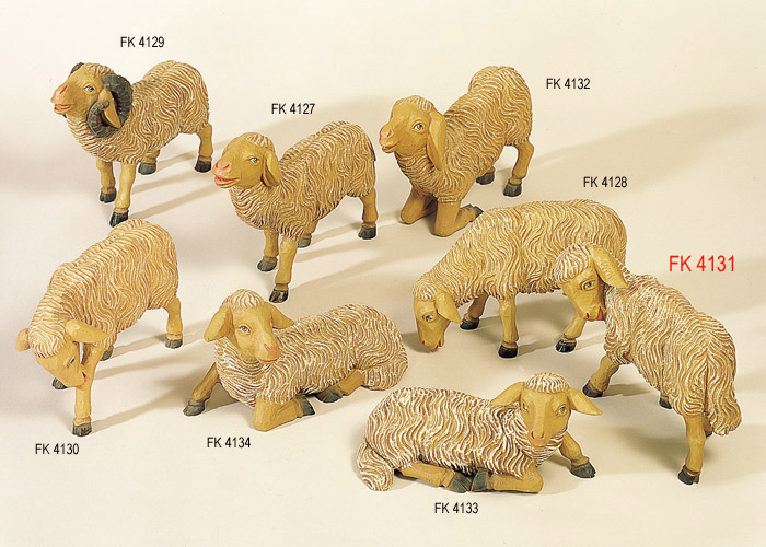 Weihnachtskrippe VOLKSKUNST: Schaf mit Kopf nach links
