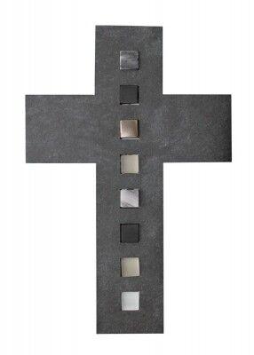 Wandkreuz aus Schiefer, mit Glasinlays