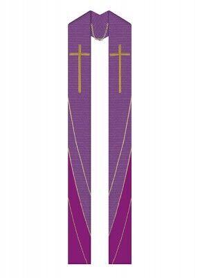 Violette Überstola mit Stickerei aus Goldgarnen