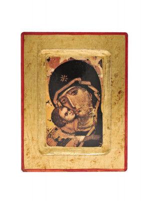 Ikonendruck auf Holz: Muttergottes von Vladimir