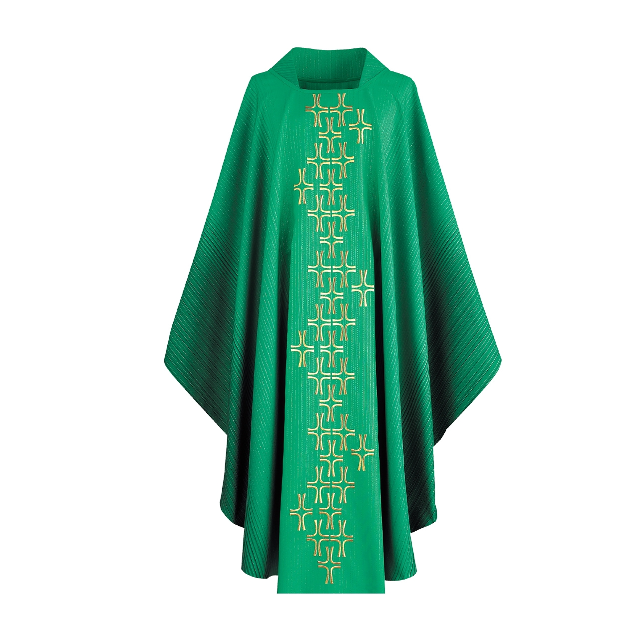 Grüne Kasel mit gesticktem Kreuzstab