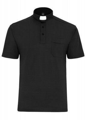 Schwarzes Poloshirt mit Collarkragen