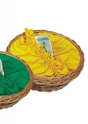 Kollektenkorb mit gelber Stoffbespannung