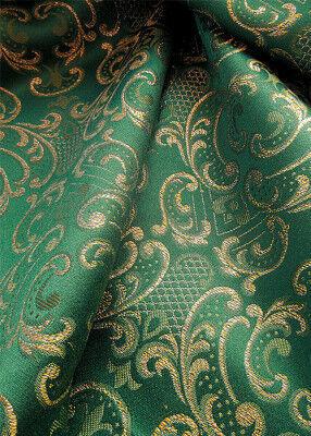 Grüner Brokatstoff aus Schurwolle