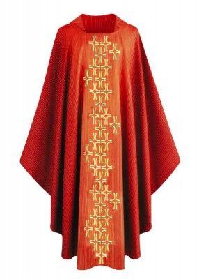 Rote Kasel mit gesticktem Kreuzstab