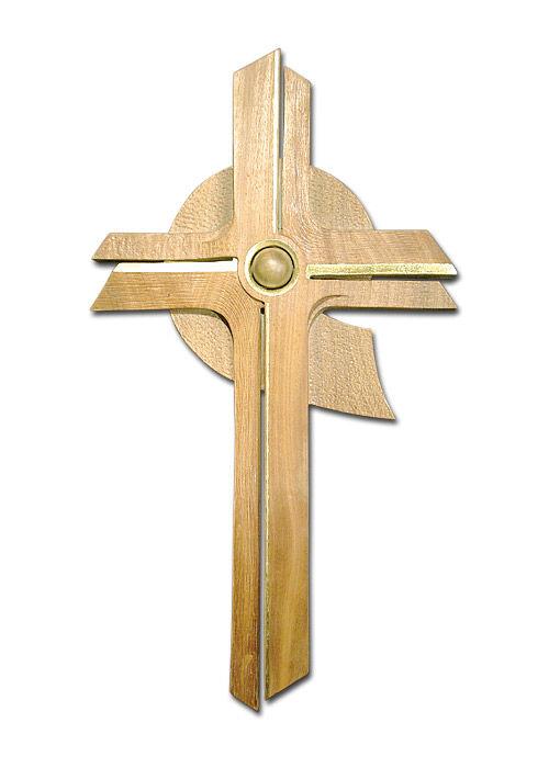 Wandkreuz aus Ahornholz, mit Goldrand