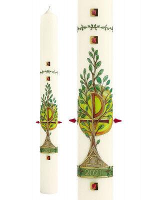 Osterkerze mit Lebensbaum-Motiv