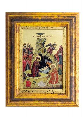 Siebdruckikone auf Leinwand: Geburt Christi