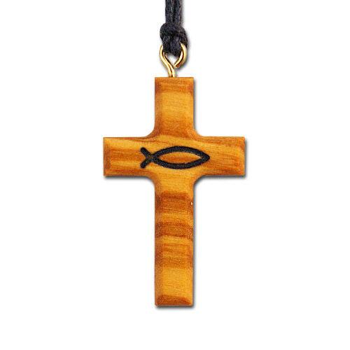 Halsanhänger aus Olivenholz, mit Fischsymbol