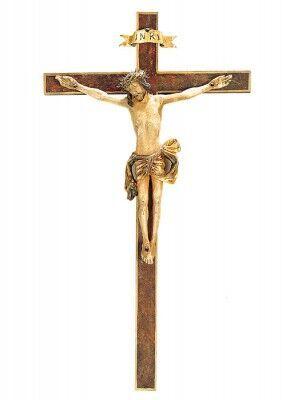 Riemenschneider Kreuz, mit Echtgold antik gefasst