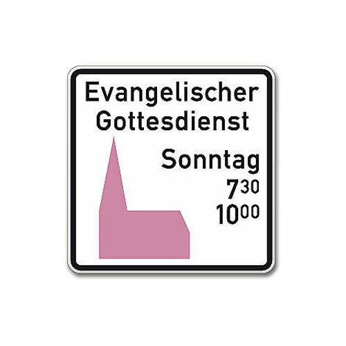 Standard-Schild für kath. oder evang. Gottesdienst