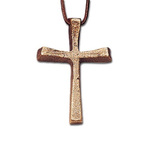 Halskreuz aus Bronze, incl. Lederband