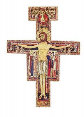 Franziskus-Kreuz, Kunstdruck auf dünner Holzplatte