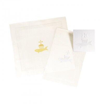 Kelchwäsche mit gesticktem Motiv FISCH weiß oder gold