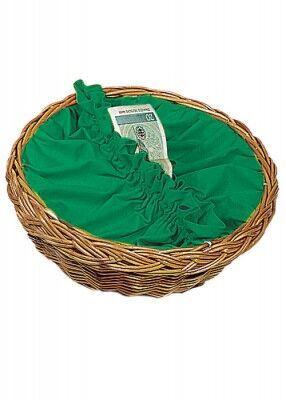 Kollektenkorb mit grüner Stoffbespannung