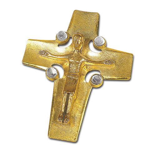 Altarliegekreuz mit Bergkristallen bestückt