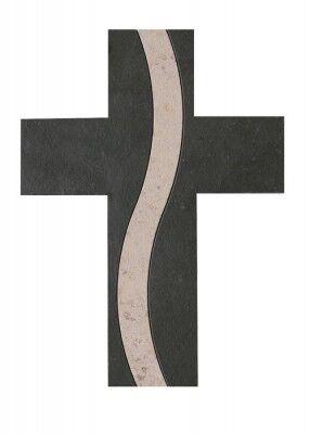 Wandkreuz aus Schiefer mit Inlay aus Naturstein