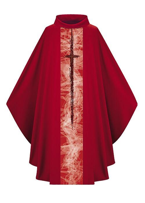 Rote Kasel mit moderner Kreuzsymbolik in Drucktechnik