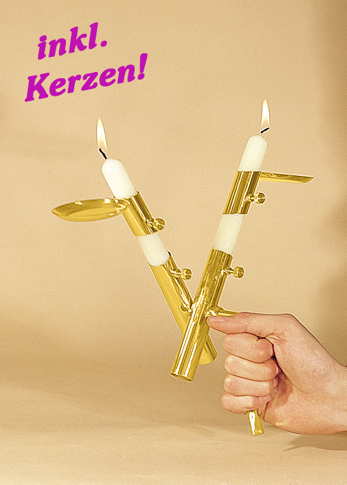 St. Blasius-Kerzenhalter incl. Kerzen