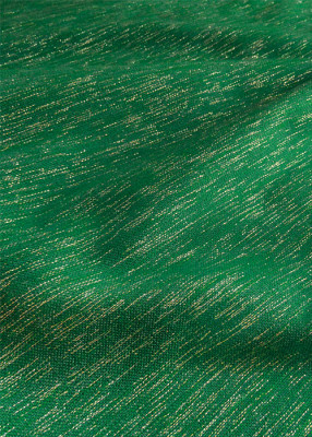 Grüner Handwebstoff mit Goldlurexfäden