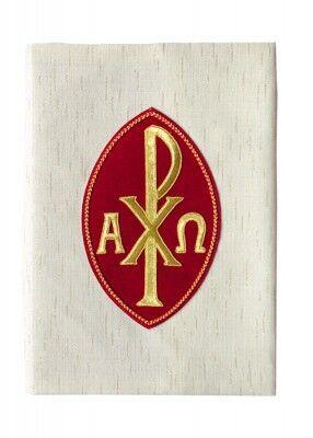 Bucheinband mit Emblem aus rotem Samt