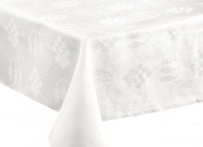 Weißes Altartuchleinen mit eingewebtem Trauben-Ähren-Motiv